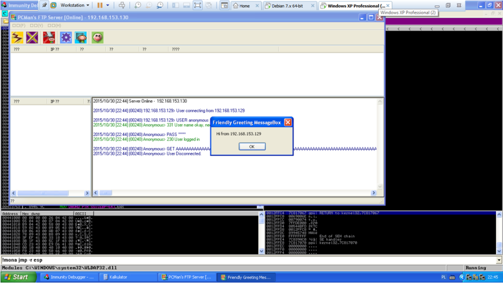 Buffer Overflow attack on PCMan FTP Server 2 07 using the Metasploit